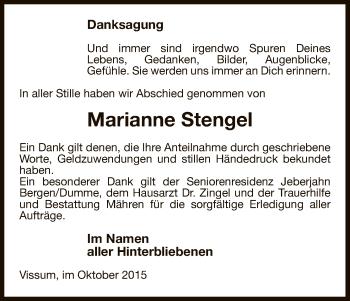 Traueranzeige von Marianne Stengel von Uelzen