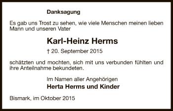 Traueranzeige von Karl-Heinz Herms von Uelzen