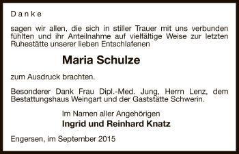 Traueranzeige von Maria Schulze von Uelzen