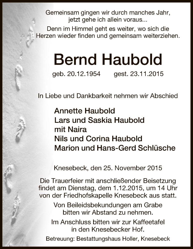 Traueranzeige für Bernd Haubold vom 25.11.2015 aus Uelzen