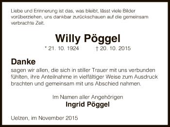 Traueranzeige für Willy Pöggel vom 25.11.2015 aus Uelzen