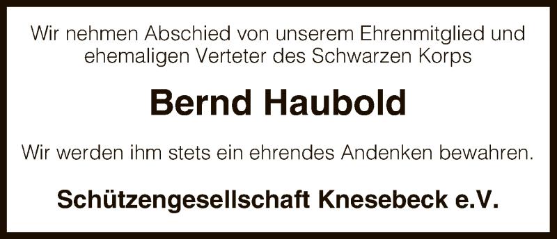 Traueranzeige für Bernd Haubold vom 28.11.2015 aus Uelzen