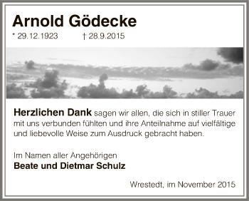 Traueranzeige von Arnold Gödecke von Uelzen