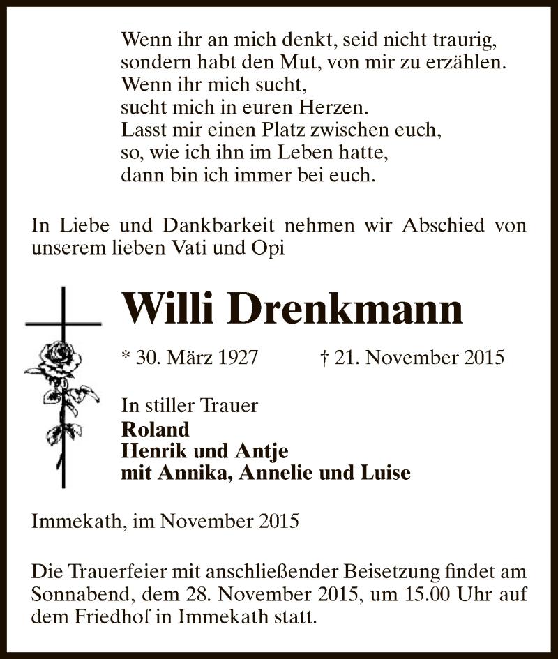 Traueranzeige für Willi Drenkmann vom 25.11.2015 aus Uelzen
