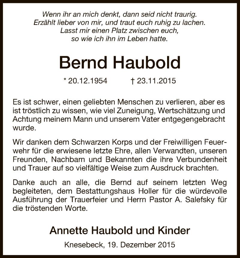 Traueranzeige für Bernd Haubold vom 19.12.2015 aus Uelzen