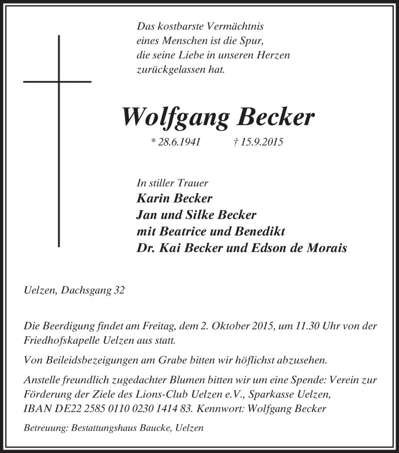 Traueranzeige für Wolfgang Becker vom 26.09.2015 aus Uelzen