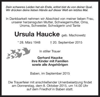 Traueranzeige von Ursula Haucke von Uelzen