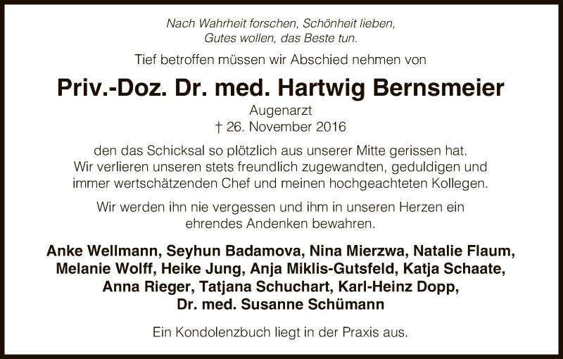 Traueranzeige für Hartwig Bernsmeier vom 03.12.2016 aus Uelzen