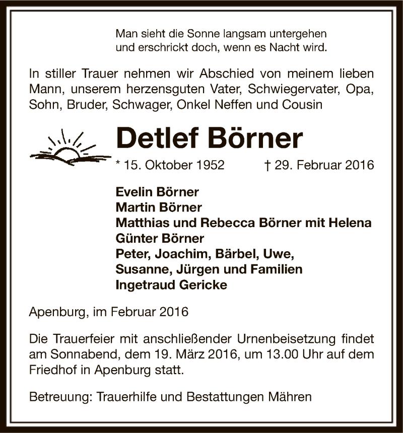 Traueranzeige für Detlef Börner vom 03.03.2016 aus Uelzen