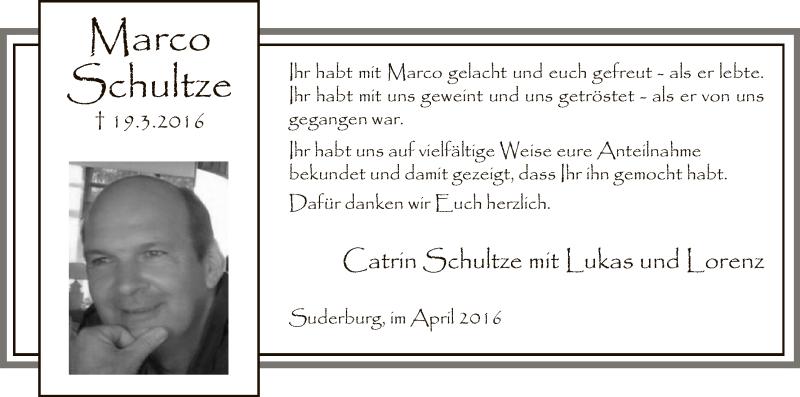 Anzeige von  Marco Schultze
