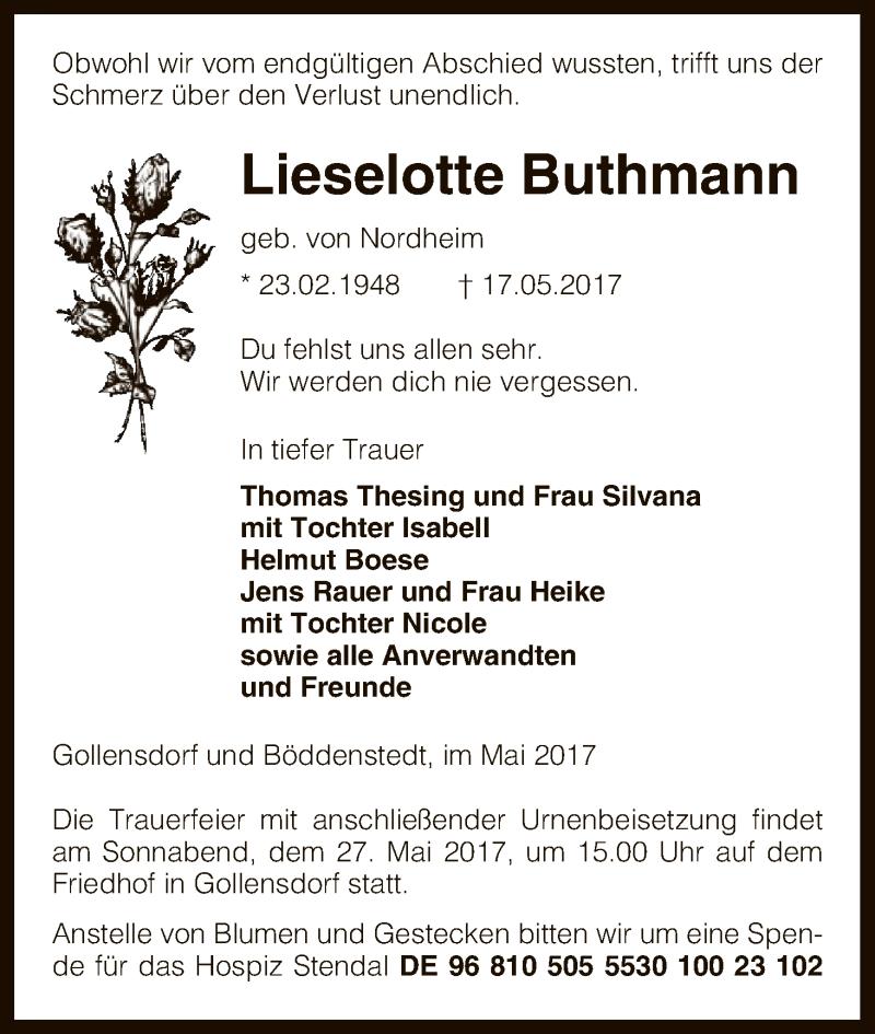 Traueranzeige für Lieselotte Buthmann vom 20.05.2017 aus Uelzen