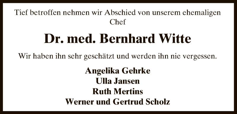Traueranzeige für Bernhard Witte vom 20.09.2017 aus Uelzen
