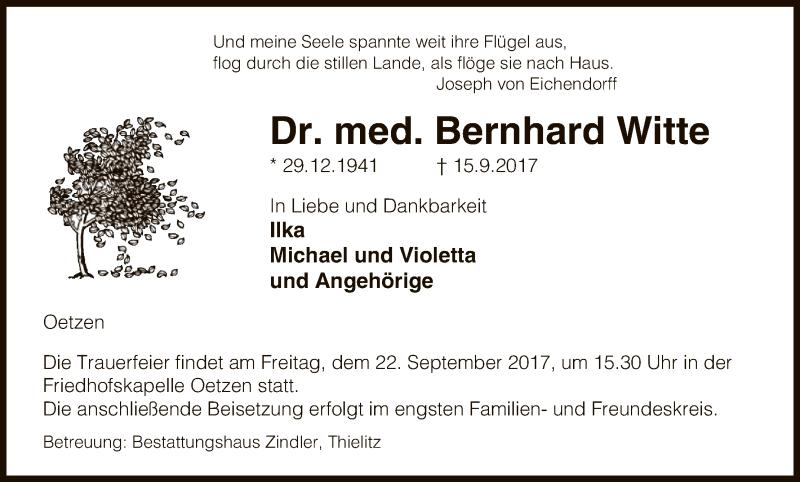 Traueranzeige für Bernhard Witte vom 19.09.2017 aus Uelzen