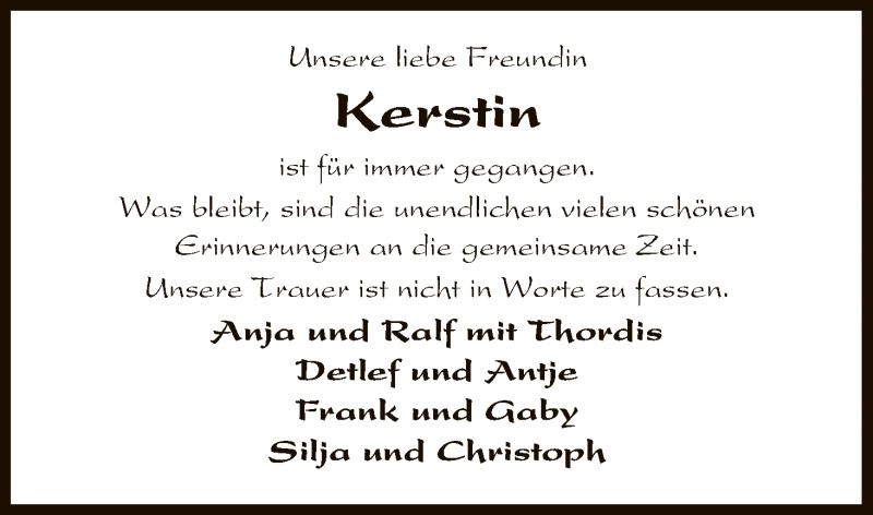 Traueranzeige für Kerstin Scholz vom 27.01.2018 aus Uelzen