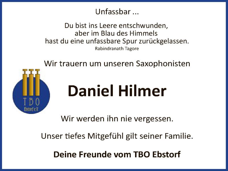Traueranzeige für Daniel Hilmer vom 27.10.2018 aus Uelzen