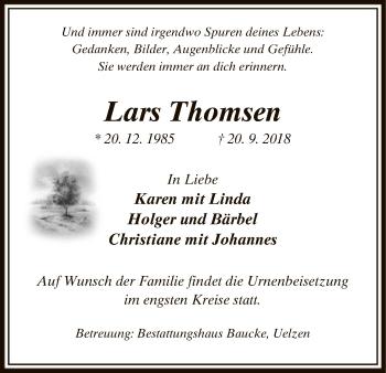 Traueranzeige von Lars Thomsen von Uelzen