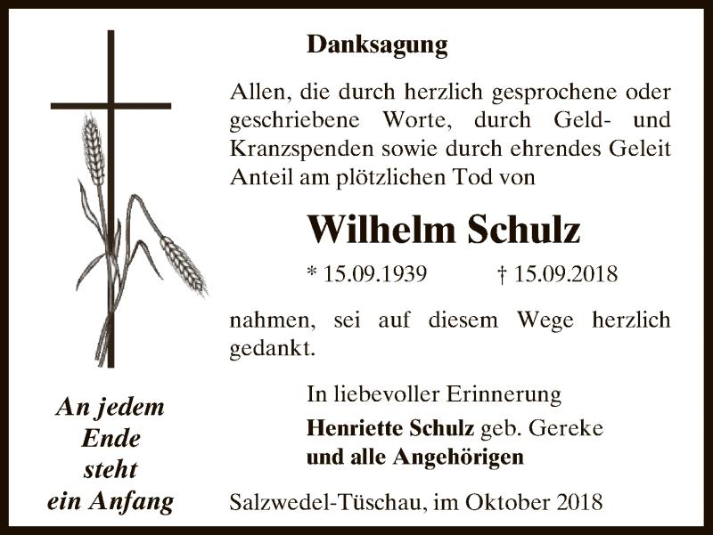 Traueranzeige für Wilhelm Schulz vom 20.10.2018 aus Uelzen