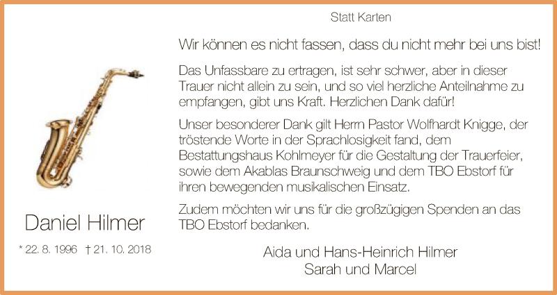 Traueranzeige für Daniel Hilmer vom 24.11.2018 aus Uelzen