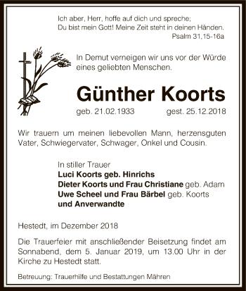 Traueranzeige für Günther Koorts vom 29.12.2018 aus Uelzen