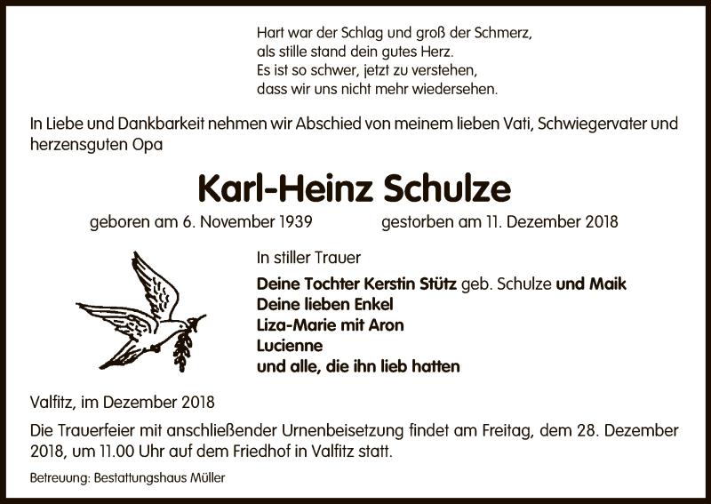Traueranzeige für Karl-Heinz Schulze vom 15.12.2018 aus Uelzen