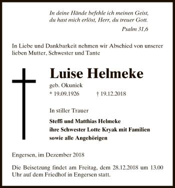 Traueranzeige für Luise Helmeke vom 22.12.2018 aus Uelzen