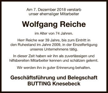 Traueranzeige für Wolfgang Reiche vom 20.12.2018 aus Uelzen
