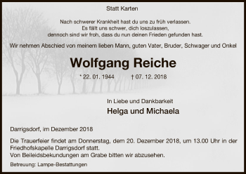 Traueranzeige für Wolfgang Reiche vom 15.12.2018 aus Uelzen