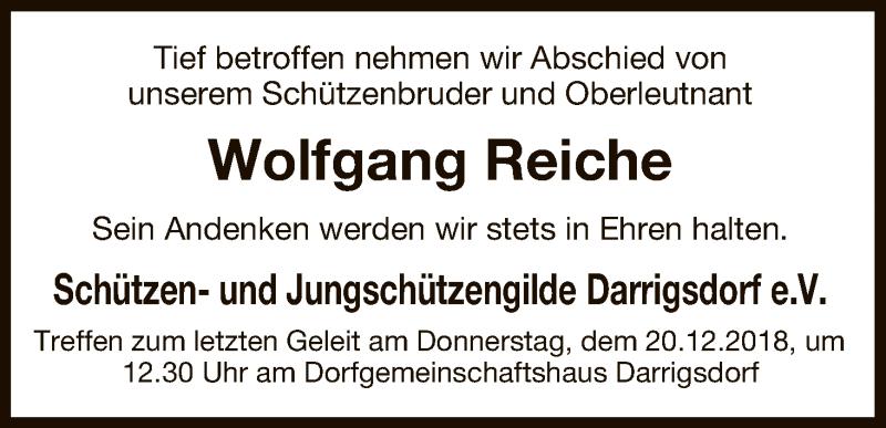 Traueranzeige für Wolfgang Reiche vom 18.12.2018 aus Uelzen