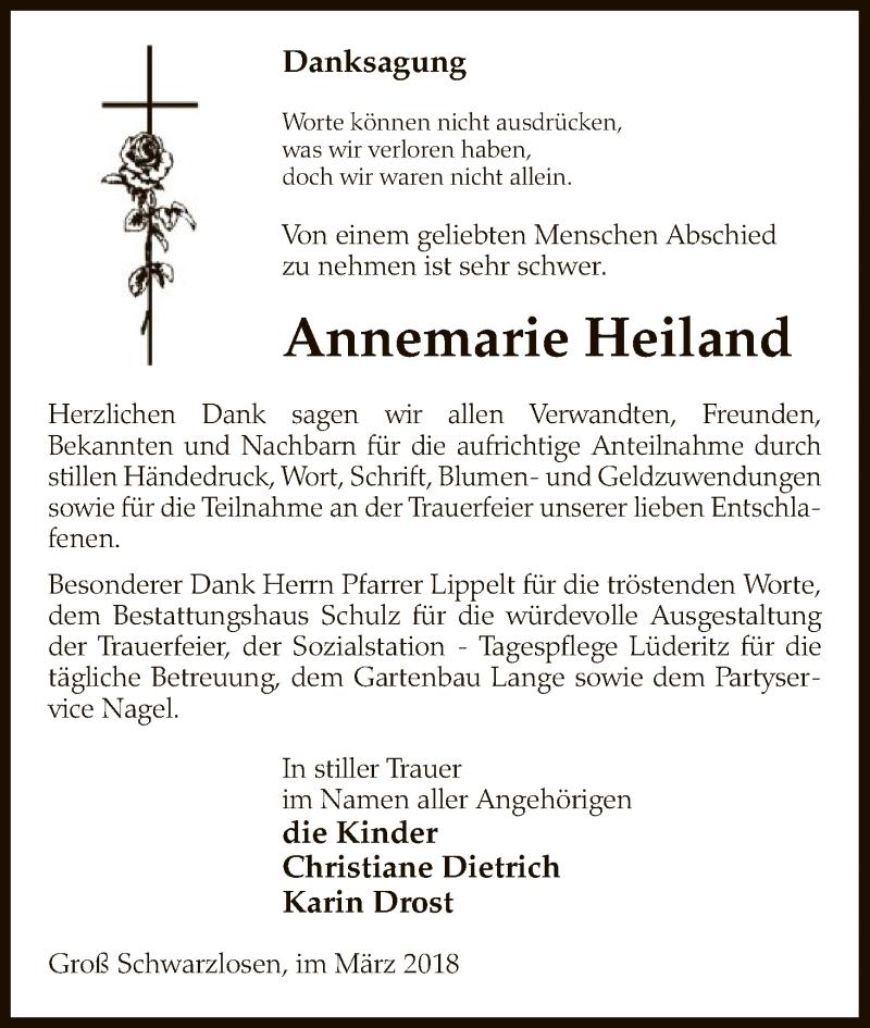 Traueranzeige für Annemarie Heiland vom 03.03.2018 aus Uelzen