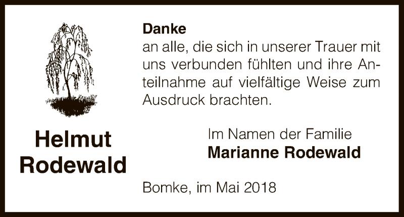 Anzeige von  Helmut Rodewald