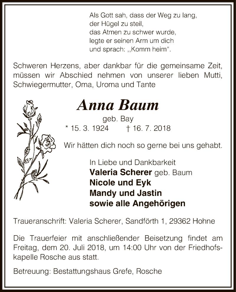 Traueranzeige für Anna Baum vom 18.07.2018 aus Uelzen