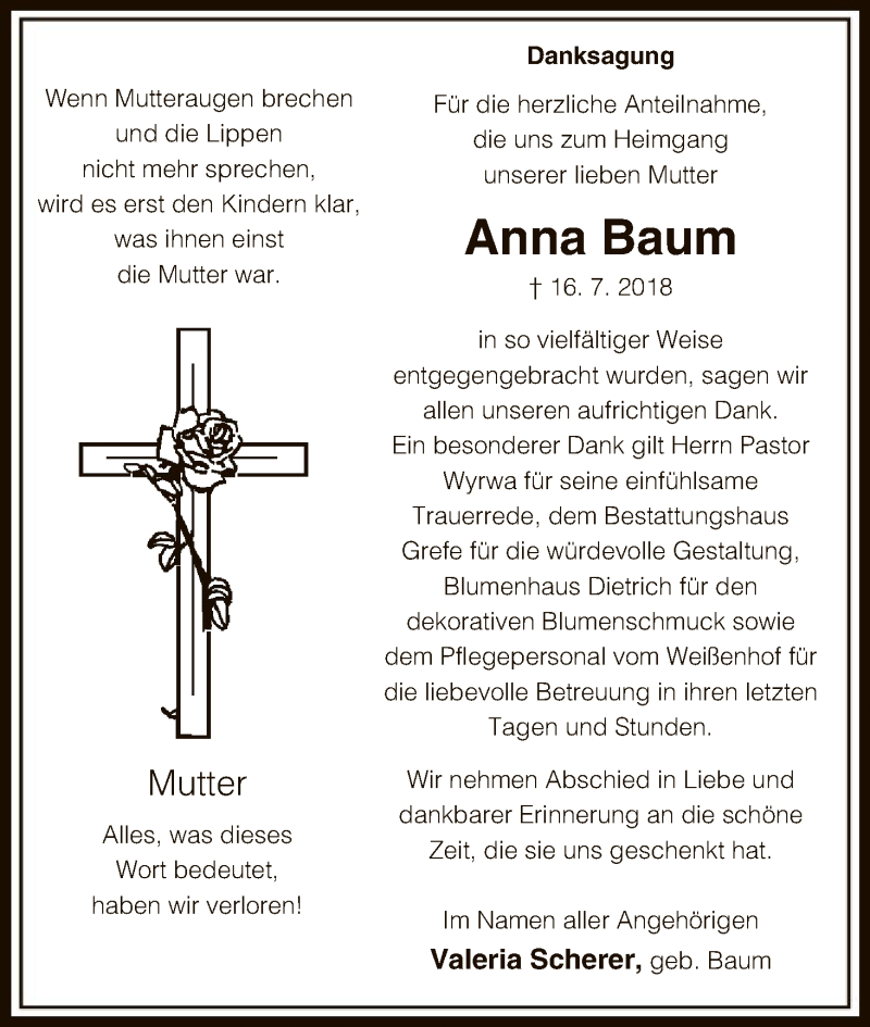 Traueranzeige für Anna Baum vom 11.08.2018 aus Uelzen