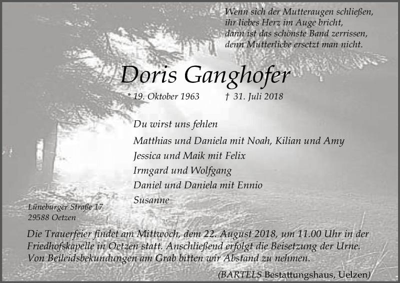 Traueranzeige für Doris Ganghofer vom 18.08.2018 aus Uelzen