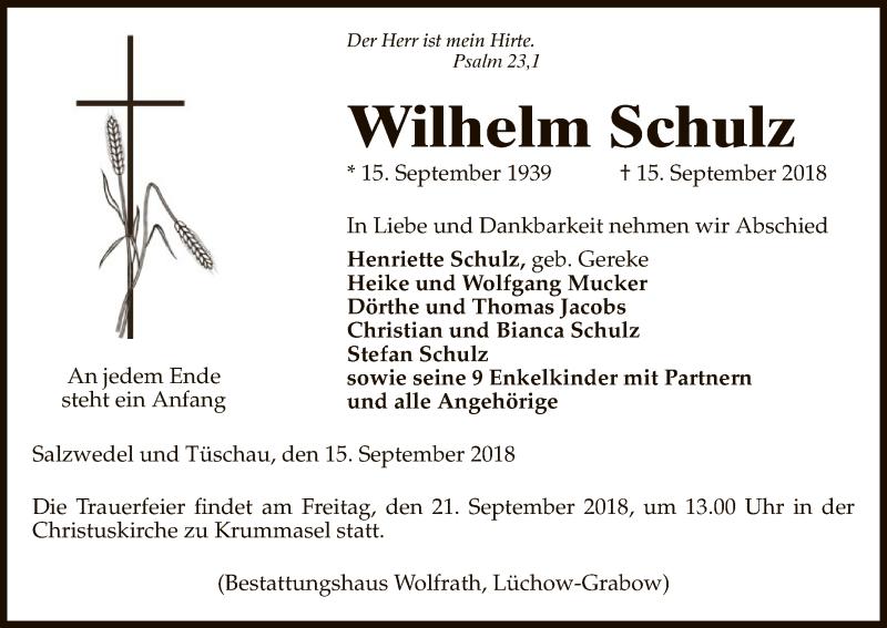 Traueranzeige für Wilhelm Schulz vom 19.09.2018 aus Uelzen