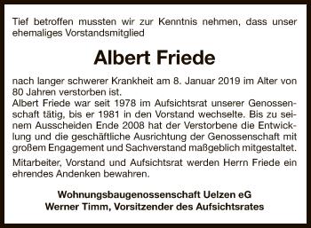 Traueranzeige für Albert Friede vom 12.01.2019 aus Uelzen