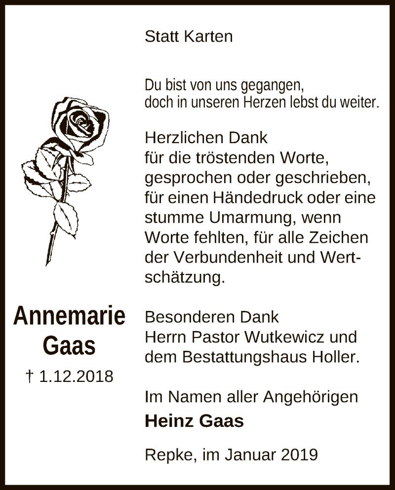Traueranzeige für Annemarie Gaas vom 11.01.2019 aus Uelzen