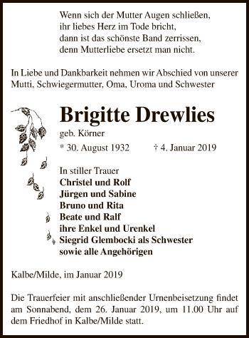 Traueranzeige für Brigitte Drewlies vom 12.01.2019 aus Uelzen