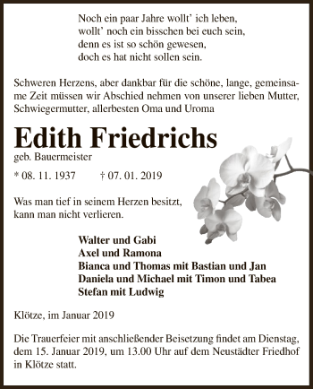 Traueranzeige für Edith Friedrichs vom 09.01.2019 aus Uelzen