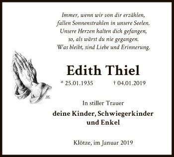 Traueranzeige für Edith Thiel vom 09.01.2019 aus Uelzen