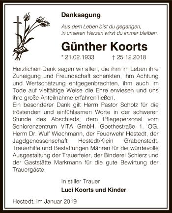 Traueranzeige für Günther Koorts vom 11.01.2019 aus Uelzen