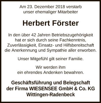 Traueranzeige für Herbert Förster vom 11.01.2019 aus Uelzen