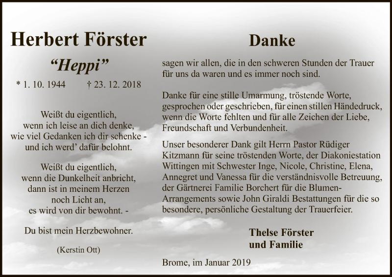 Traueranzeige für Herbert Förster vom 26.01.2019 aus Uelzen