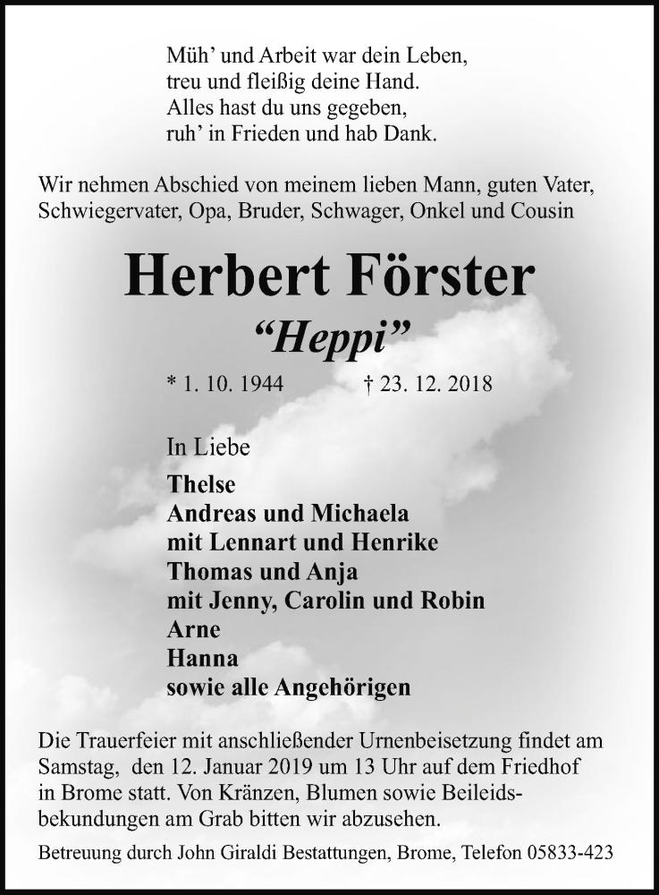 Traueranzeige für Herbert Förster vom 08.01.2019 aus Uelzen