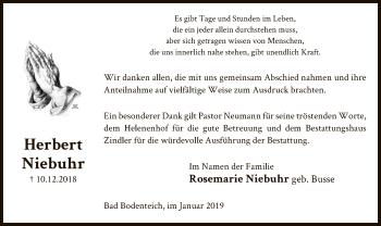 Traueranzeige für Herbert Niebuhr vom 12.01.2019 aus Uelzen