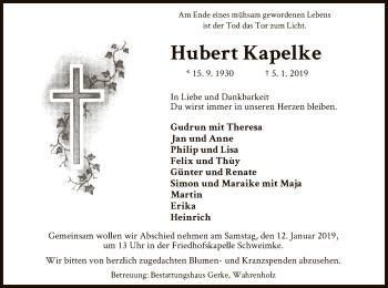 Traueranzeige für Hubert Kapelke vom 08.01.2019 aus Uelzen