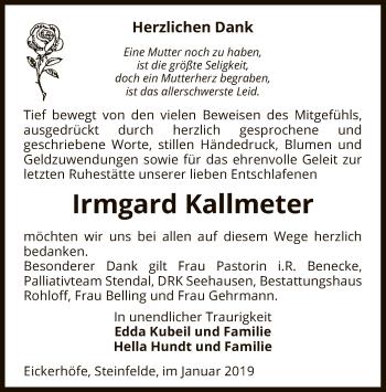 Traueranzeige für Irmgard Kallmeter vom 10.01.2019 aus Uelzen
