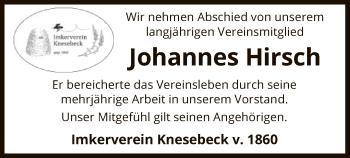 Traueranzeige für Johannes Hirsch vom 18.01.2019 aus Uelzen