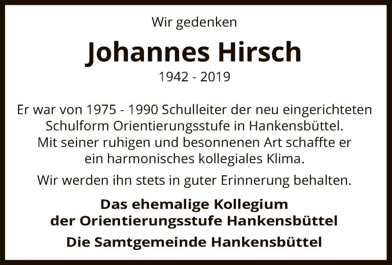 Traueranzeige für Johannes Hirsch vom 16.01.2019 aus Uelzen