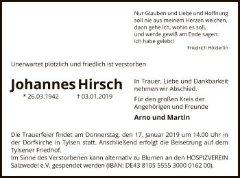Traueranzeige für Johannes Hirsch vom 11.01.2019 aus Uelzen