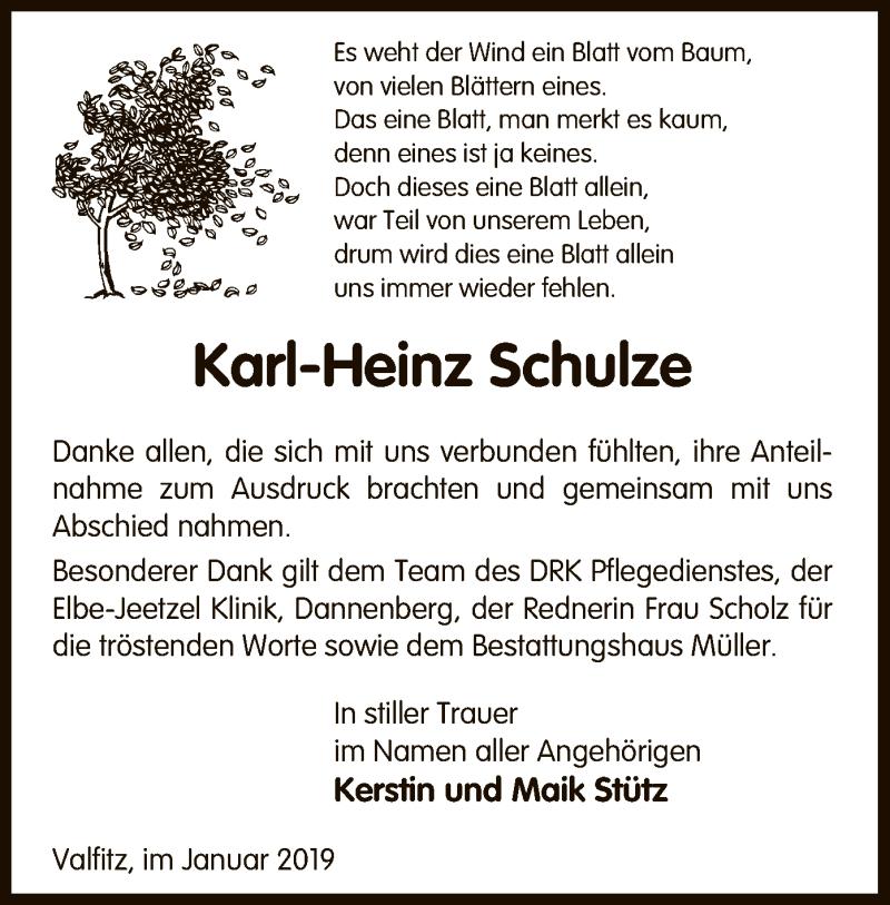 Traueranzeige für Karl-Heinz Schulze vom 11.01.2019 aus Uelzen